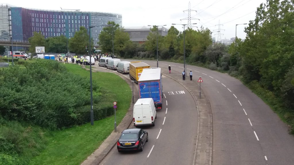 Lorries backed up at East Gate