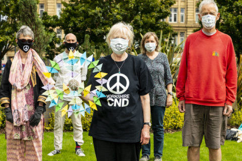 Campaigners lay wreath in Norfolk Gardens Bradford on the 75th anniversary of the bombing of Hiroshima. PHOTO: http://neilterryphotography.co.uk/