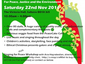 Peace & Craft Fair – Saltaire, 22nd Nov