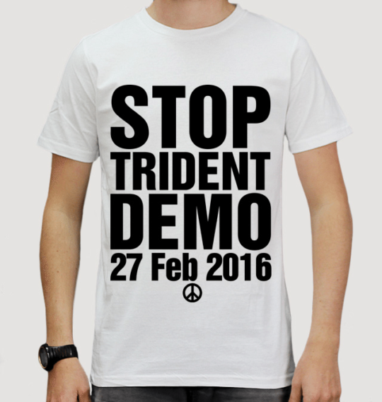 model in stop trident t-shirt