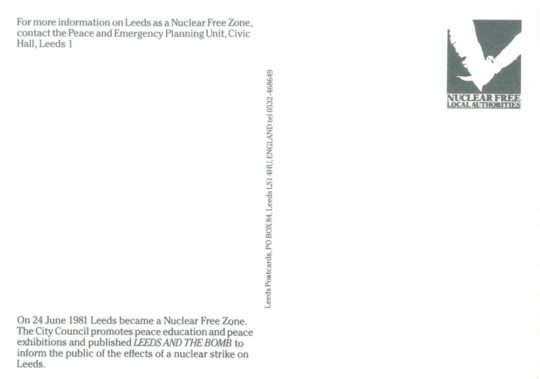 Leeds nuclear free city postcard back