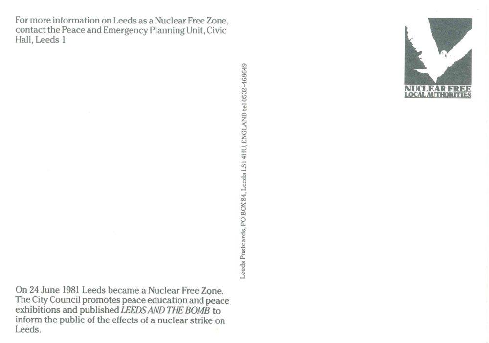 Leeds nuclear free city postcard back