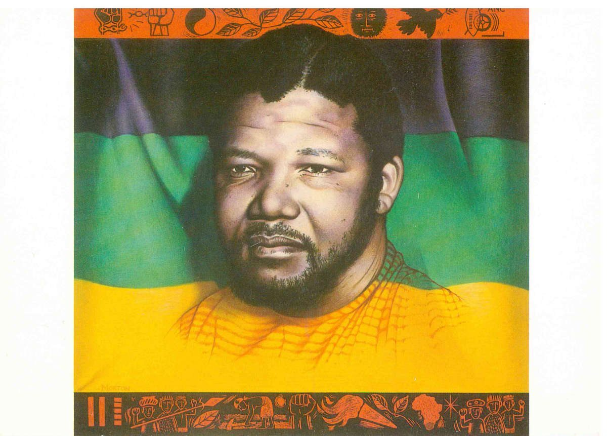 Nelson Mandela and the ANC flag by Paul Morton