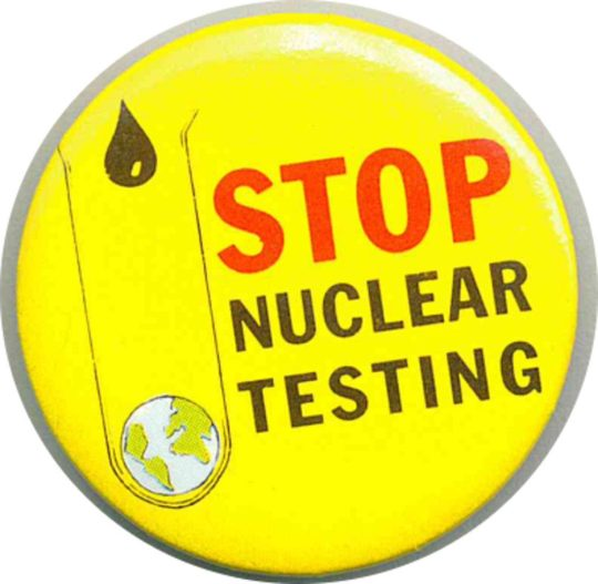 Stop Nuclear Testing Badges