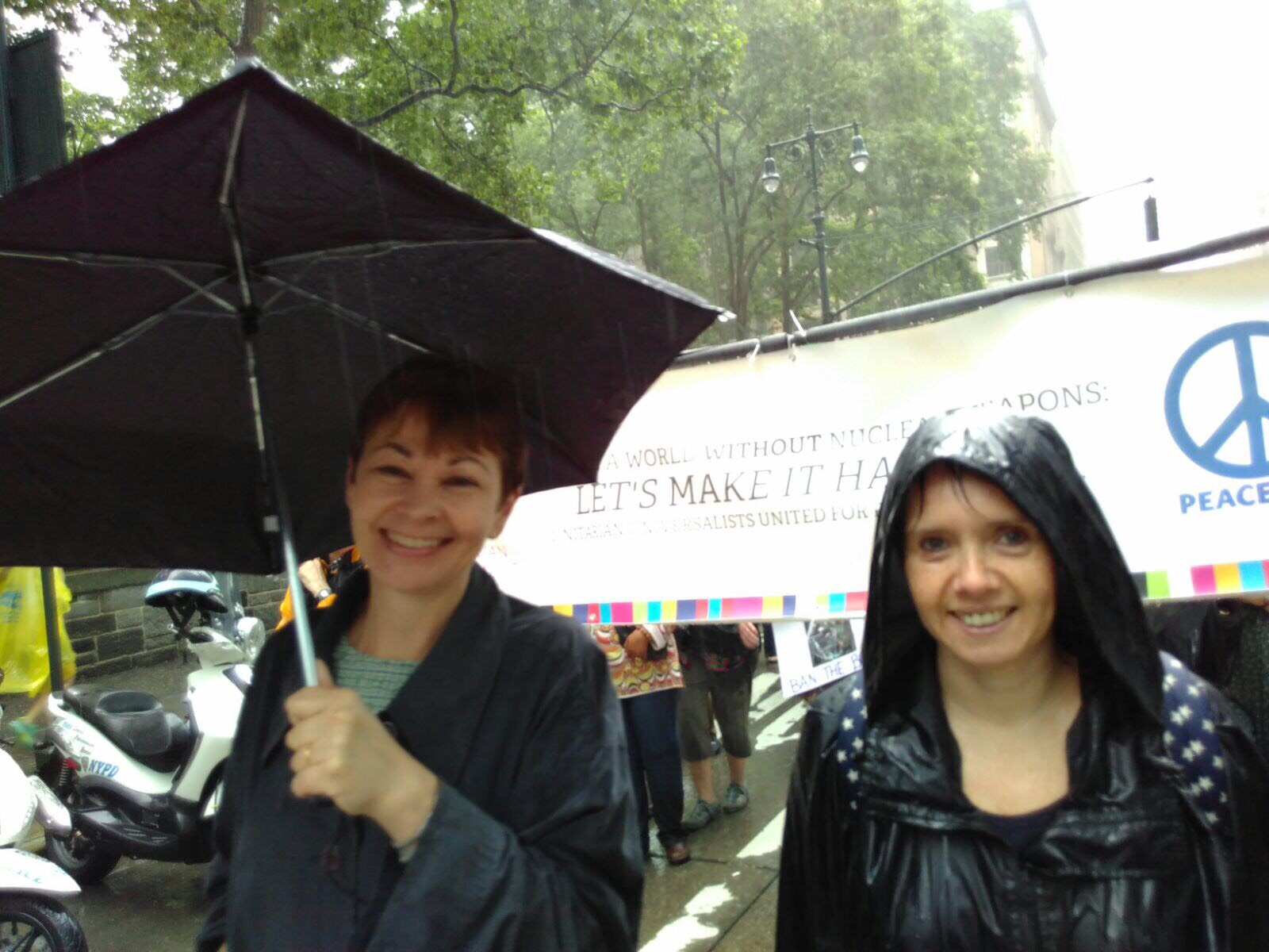 Cath Miller with Caroline Lucas on anti-trident demo