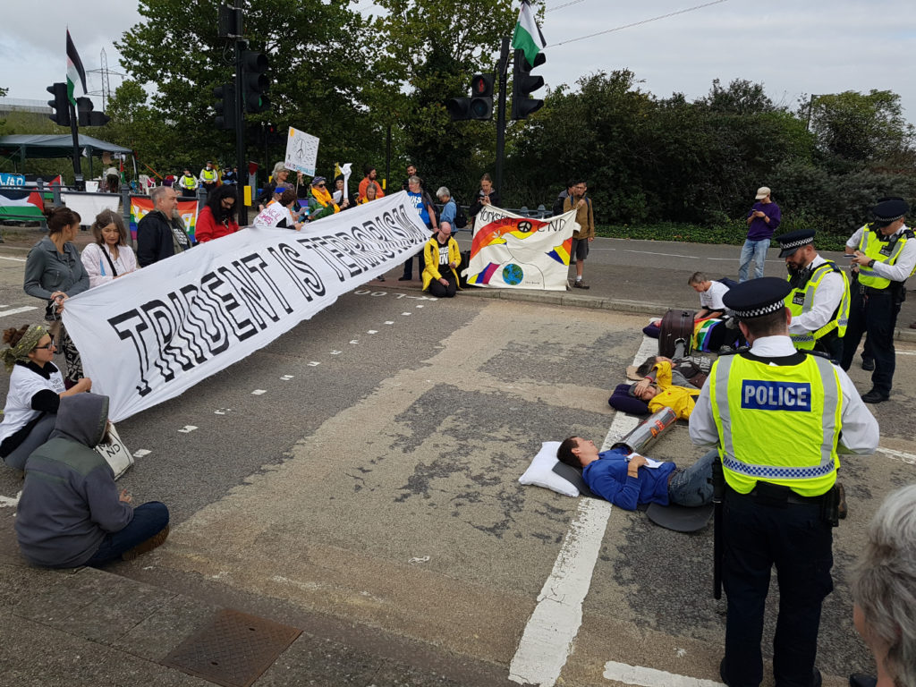 Morning blockade of DSEI arms fair