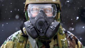 Soldier in hazmat suit