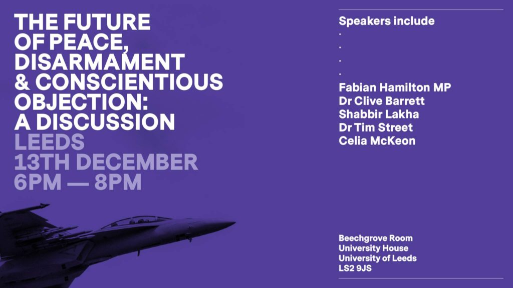 Details of the event, including titile, location, and guest speakers. All on a purple background