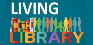 "Image says ""living libray"", with colouful silhouettes of people and books"