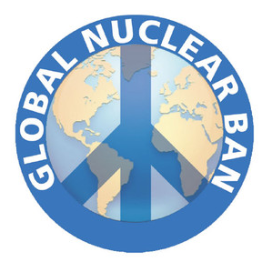 "A globe with a CND symbol across which reads ""Global Nuclear Ban"""