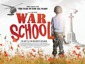 "Film poster for ""War School"", depicting a child in military uniform standing in a field of poppies, with a helicopter flying overhead."