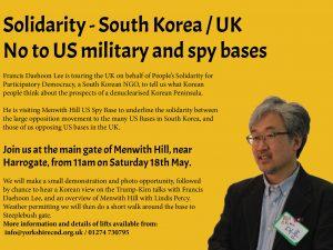 Solidarity – South Korea/UK.  No to US bases.