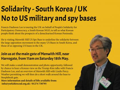 Solidarity – South Korea/UK.  No to US bases.